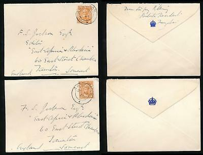 ZANZIBAR 1941 OFFICIAL SMALL + LARGE CROWN FLAP ENVELOPES from SIR GUY PILLING
