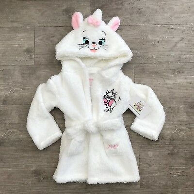 Disney Baby Marie Girls Hooded Robe Dressing Gown The Aristocats Primark White