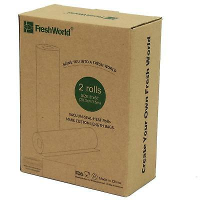 Fresh World Vacuum Sealer Bags, Two Pack of 8 x 50' Rolls, Simmer and Microwave
