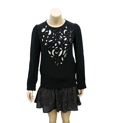 244dc92fc1876 4274 New Isabel Marant Womens Embroidered Cutout Black Silk Blouse Top M 42