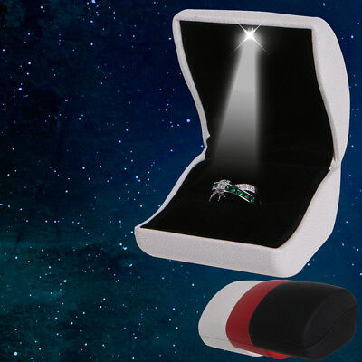 LED Light Faux Leather Jewelry Earring Ring Box Wedding Engagement Display Case