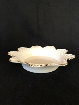 Lenox Flower Shaped Shallow Candy Dish Bowl Gold Rim Ribbed Texture