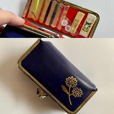 Vintage 1970s Navy Blue Faux Leather Travel Sewing Purse Kit with Metal Clasp