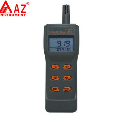 AZ77597 Dual Function Temperature & Humidity Combo CO2 And CO Gas Leak Detector