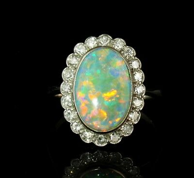 H STERN ART DECO NATURAL 3.50ct SEMI BLACK AUSTRALIAN OPAL DIAMOND 18K GOLD RING