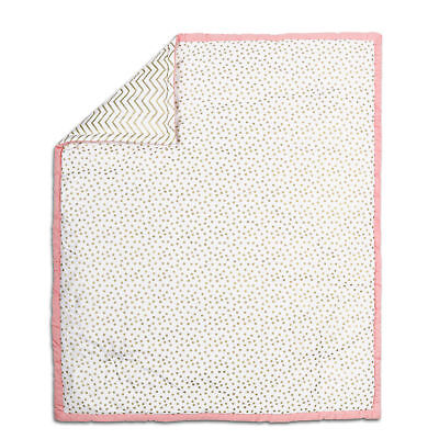 Gold Dot and Chevron with Coral Pink Accents Crib Quilt by The Peanut Shell