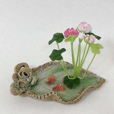 Clay Flower White Water Lily Lotus with Fish in Flat Tub Miniature Dollhouse