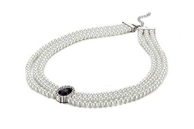 Black Bead and Diamante Crystal Three Layer Faux Pearl Necklace Pendant Costume