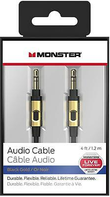Monster 4ft. 3.5mm Male to Male Auxiliary Aux Audio Cable Cord - Black Gold