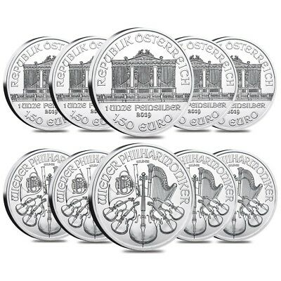 Lot of 10 - 2019 1 oz Austrian Silver Philharmonic Coin BU