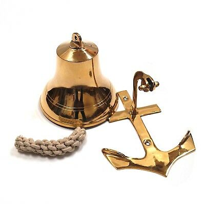 "NEW ""US Navy"" Solid Brass Anchor Ships Bell 9"" Decorative Nautical Hanging Wall"