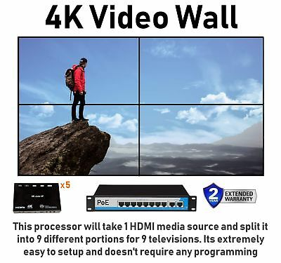 2x2 4K Video Wall HDMI Processor IP Network PoE HDTV 1080p Controller Splicing