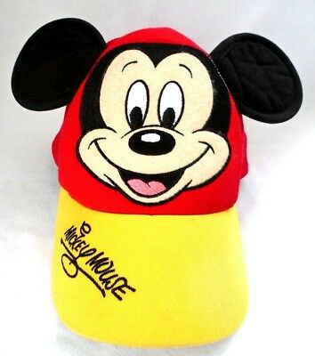 Child Toddler Mickey Mouse Baseball Cap Hat with Ears Yellow & Red Disney World