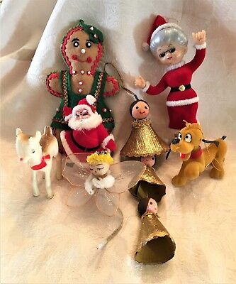 Lot 6 Vintage Felt, Flocked, and Plastic Christmas Ornaments - Very Cute!!