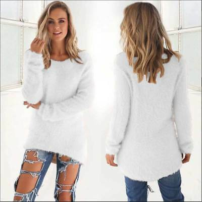 Women's Pullover Sweater Knitted Jumper Tops Long Sleeve Round Neck Knitwear New