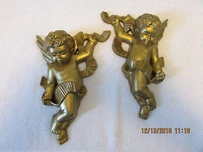 Set 2 vtg 1970 Burwood Products Gold Cherub Angel Wall Plaques Picture Accents