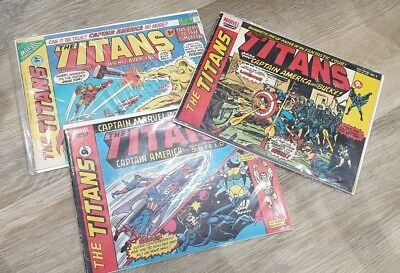 3 Vintage Marvel Titans comics 1975 1976 with Avengers / Captain America Covers