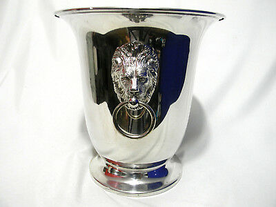 Sheffield Silver Co Plated Ice Bucket Insulator Lion Head Champagne Ornate VTG