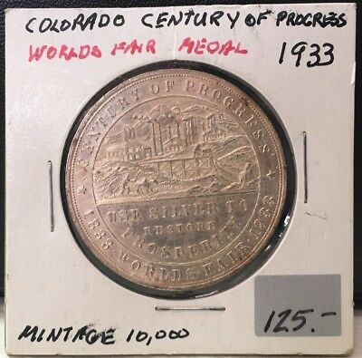 "1933 Worlds Fair Medal ""Colorado Century of Progress"" Stamped 1 oz. Pure Silver"