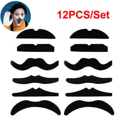 Pack of 6 Stick on 70/'s Fake Mustache Self Adhesive Fancy Dress Assorted Design