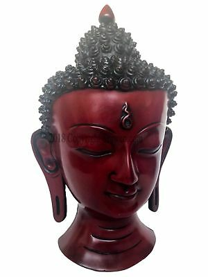 Vintage Carved Wood Asian Chinese Buddha Face Mask 12 inch Wall Hanging Decor