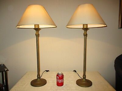 Pair Of Tall Vintage Brass Candle Stick Table Lamps With New Shades