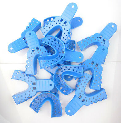 12pc Dental Perforated Plastic Impression Trays Upper/Lower S/M/L/XL EASYINSMILE