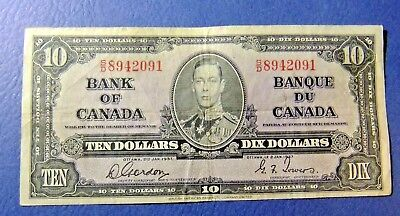 1937 Bank of Canada Ten Dollar Note- GORDON/TOWERS - S/D 8942091. F15 /VF