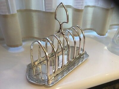 Superb Antique James Dixon Silver Plated Chased Footed Toast Rack