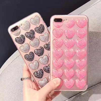 Glitter Iphone Cover For iPhone X 8 7 6S Plus Cover 3D Love Heart Soft TPU Case