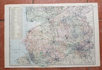 Early 20th century map Bacons Geographical Establishment LANCASHIRE