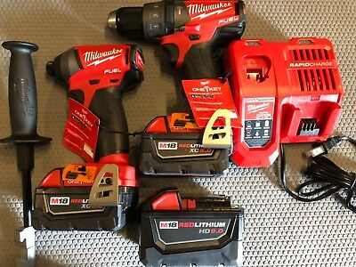 Milwaukee 2996-22 M18 Hammer Drill/Impact Driver Kit One Key 3 Batteries