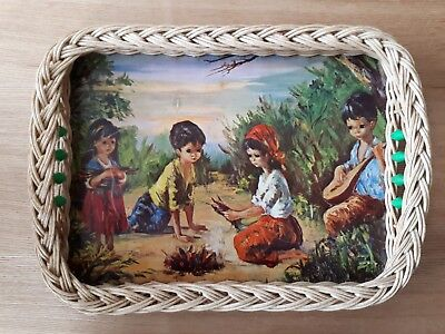 vintage 1950s kitsch wicker serving tray