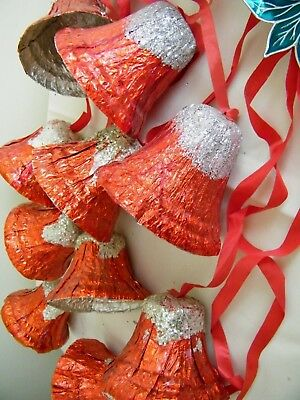 Vintage Red Cellophane, Aluminum Foil & Glitter Christmas Bells Decorations