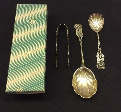 Set Of 3 Silver Antique Sugar Shell Shaped Spoon Tongs Rose Austro