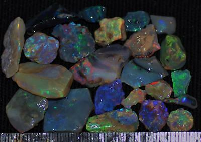 100 Cts Solid Gem Quality Lightning Ridge Rough And Rough Rubbed Opal Parcel 67