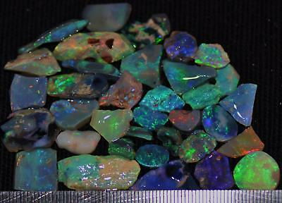 100 Cts Solid Gem Quality Lightning Ridge Rough And Rough Rubbed Opal Parcel 69