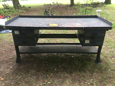 Vintage Workbench Industiral Kitchen Island Table Desk Iron Wood Drawers