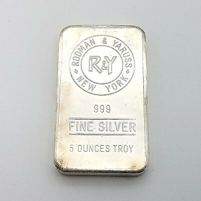 R & Y Rodman & Yaruss New York Five Ounce Troy 5 Oz Pure .999 Fine Silver Bar*