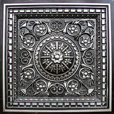 Decorative D215 Antique Silver PVC Faux Tin Drop In Ceiling Tiles 2x2 Lot/6 Pcs