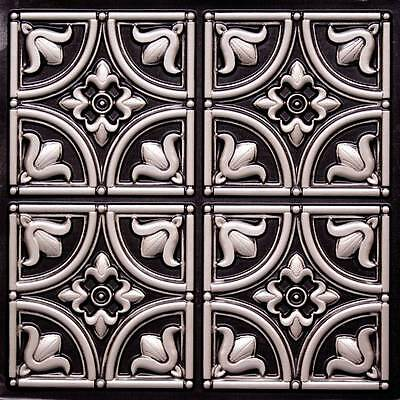 Decorative D148 Antique Silver PVC Faux Tin Ceiling Tiles 24 x 24