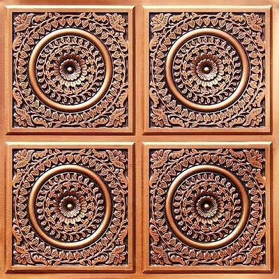 Decorative D117 Antique Copper PVC Faux Tin Ceiling Tiles 24 x 24