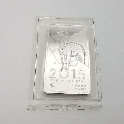 2015 Year of The Goat 10 Troy Ounce Ten Oz Pure .999 Fine Silver Bar Sealed