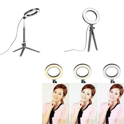 "13"" LED Ring Light w/ Stand 5500K Dimmable Lighting Kit for Makeup Phone CameraH"