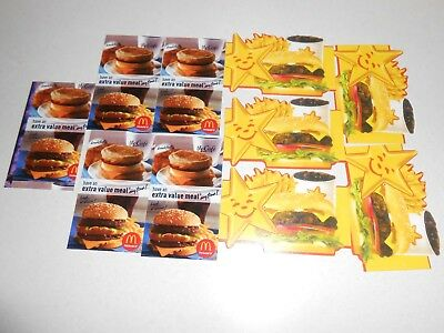 Lot of 10 Mcdonald's/ Hardee's Combo Meal Cards