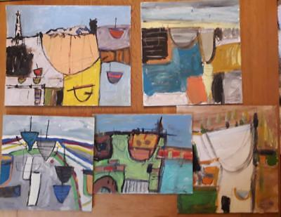 Lovely Collection Of 5 Cornish School Harbour/boat Studies Hayle/lands End