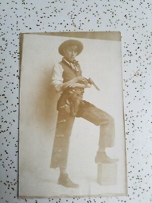 Guy Holing Pistol with Chaps and Holster Postcard Marked 1911  (COWBOY)