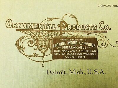 1910s Ornamental Products DETROIT MI Lignine Wood Carvings Architectural Catalog
