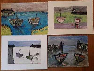 Fine Collection Of 4 Cornish School Harbour/boat Studies. Penzance & Newlyn