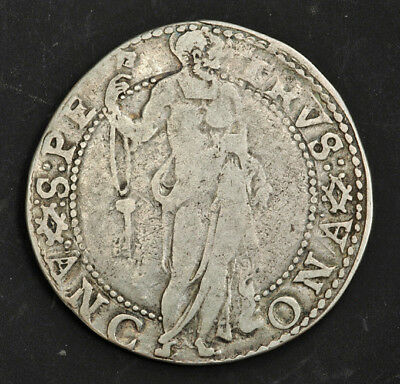 1585, Papal States, Vatican, Gregory XIII. Silver Testone (30 Baiocchi) Coin. R!